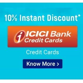 Icici Bank credit Cards instant 10% discount