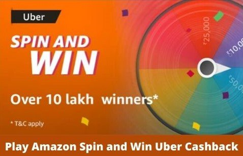 Amazon Uber Spin and Win Quiz Answers Today – Win Uber Cashback (10 Lakh Winners) ( Guess and Win Quiz Contest )