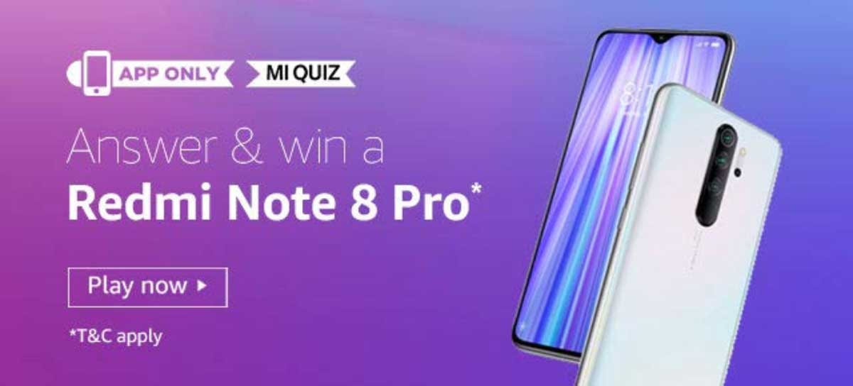 Amazon Redmi Note 8 Pro Mi Quiz Answers January 2020