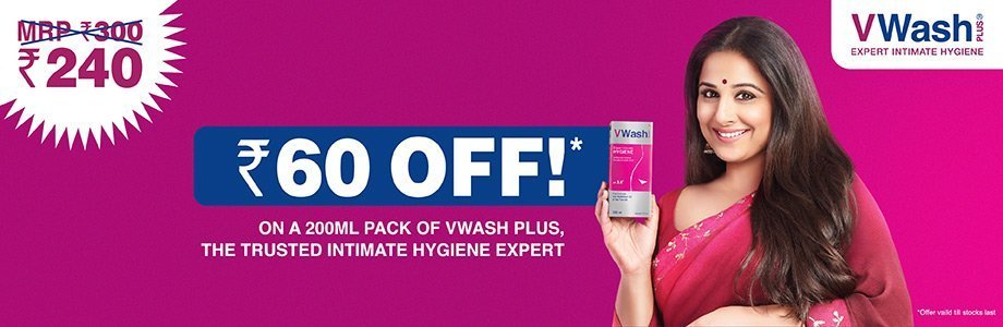 Rs. 60 Off! On a 200ML Pack Of VWash Plus