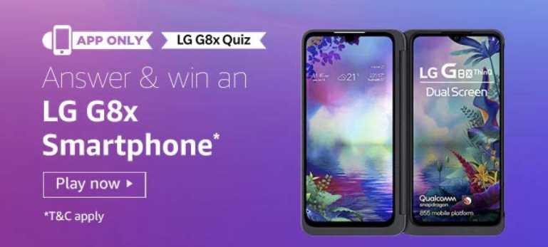 amazon LG G8x Quiz Answers Today