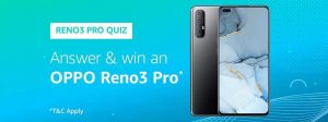 Amazon Reno3 Pro Quiz Answers - Play & Win Oppo Reno3 Pro
