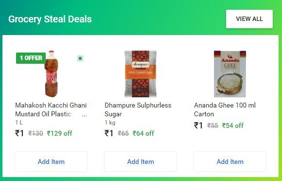 Flipkart 1 Rs. Sale Discount Offer On Flipkart Grocery Supermart