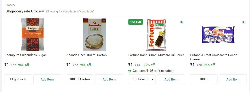 Flipkart Supermart Rs. 1 Deal Sale Offer On Grocery